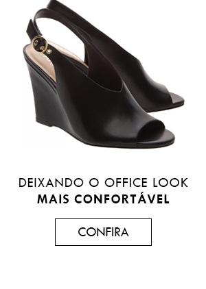Sandal Boot Couro Anabela Alta Preta